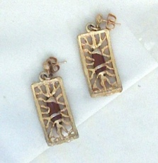 SHP Stanley Home Products Gold Tone Open Work Dangle Earrings Rhinestones